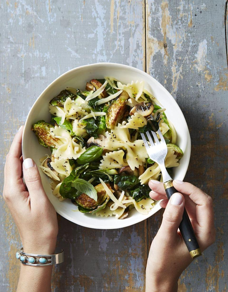 """<p>Who knew pasta could be so fresh and so clean?</p><p><a href=""""https://www.goodhousekeeping.com/food-recipes/a40391/brussels-sprout-basil-bowties-recipe/"""" rel=""""nofollow noopener"""" target=""""_blank"""" data-ylk=""""slk:Get the recipe for Brussels Sprout and Basil Bowties »"""" class=""""link rapid-noclick-resp""""><em><span class=""""redactor-invisible-space""""><span class=""""redactor-invisible-space"""">Get the recipe for Brussels Sprout and Basil Bowties »</span> </span></em></a><br></p>"""