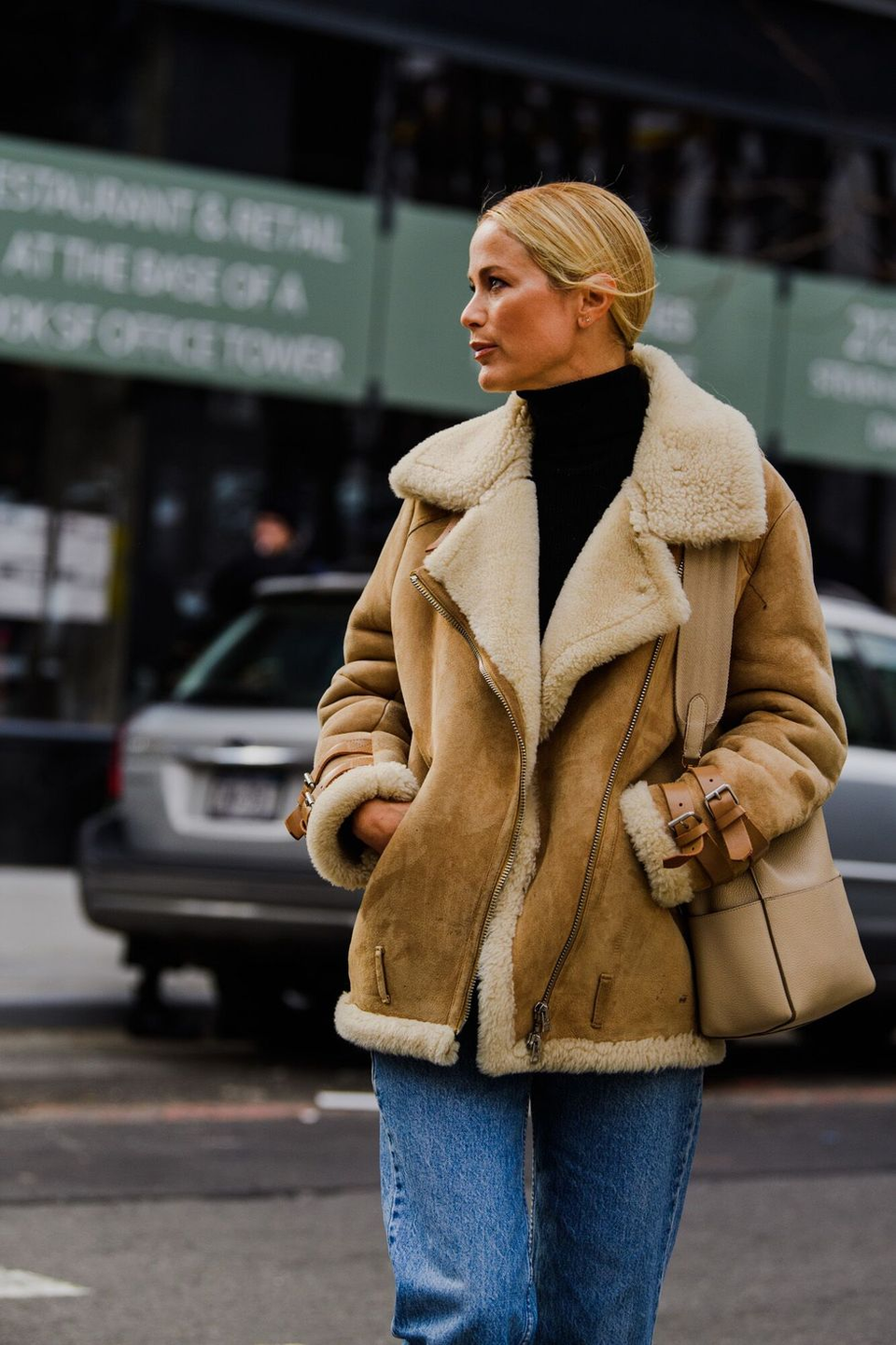 <p>Keep it cozy in an oversized shearling-lined jacket. The outerwear looks best when paired with blue jeans or a floral feminine dress for contrast.</p>