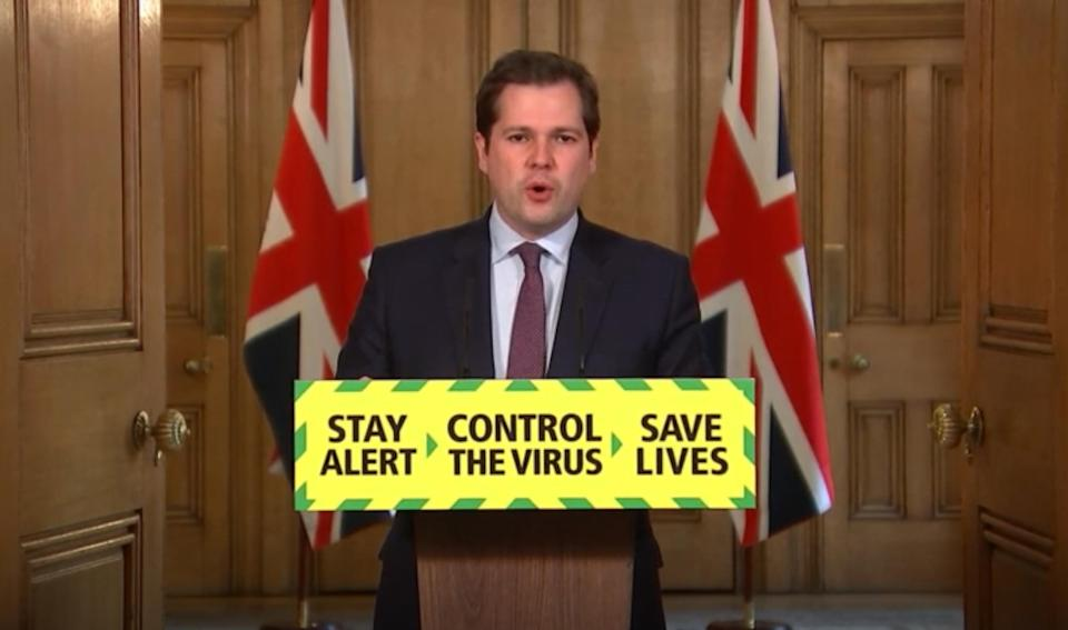 Screen grab of Housing, Communities and Local Government Secretary Robert Jenrick during a media briefing in Downing Street, London, on coronavirus (COVID-19). (Photo by PA Video/PA Images via Getty Images)