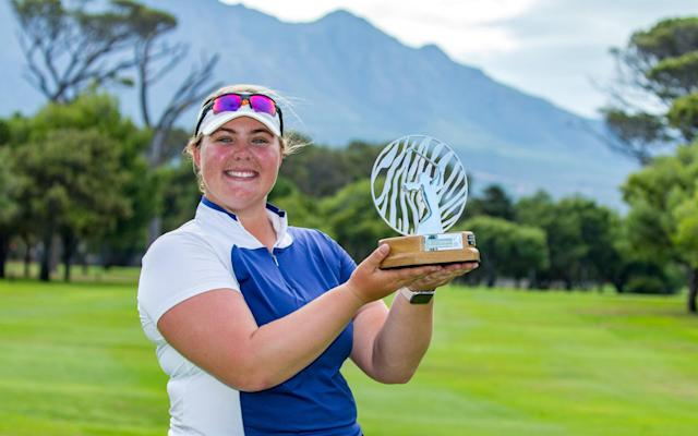 Alice Hewson of England with her trophy at the Soouth Africa Open - Ladies European Tour