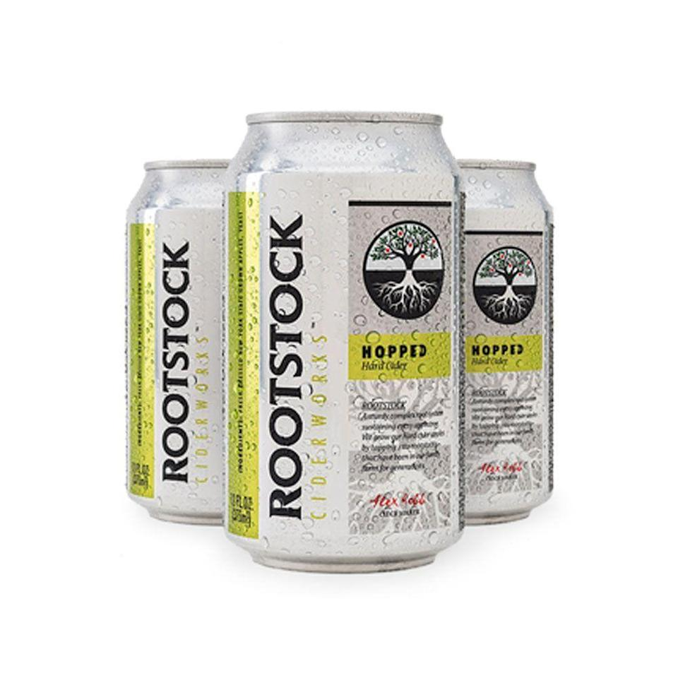 """<p>Rootstock Ciderworks</p><p><strong>$11.00</strong></p><p><a href=""""https://www.rootstockciderworks.com/rootstock-cider-store"""" rel=""""nofollow noopener"""" target=""""_blank"""" data-ylk=""""slk:Shop Now"""" class=""""link rapid-noclick-resp"""">Shop Now</a></p><p>If you're unsure if you're in the mood for beer or cider, this Hopped variation from New York State manages to scratch both itches at once. The semi-dry cider is a balanced mash-up of Crispin apples and locally grown Cascade hops. Pairs well with a hot pretzel and bier cheese dip.</p>"""