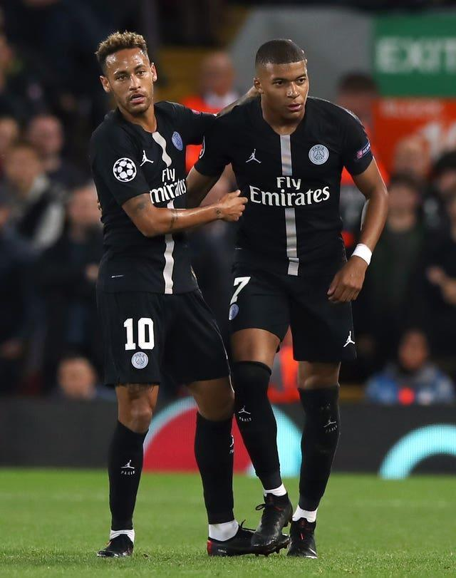 Neymar (left) and Mbappe (right) were involved in an apparent spat at the weekend