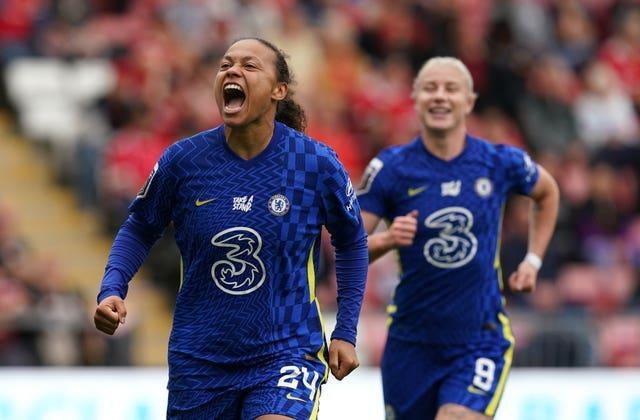 Chelsea's Drew Spence celebrates her goal in the 6-1 victory over Manchester United