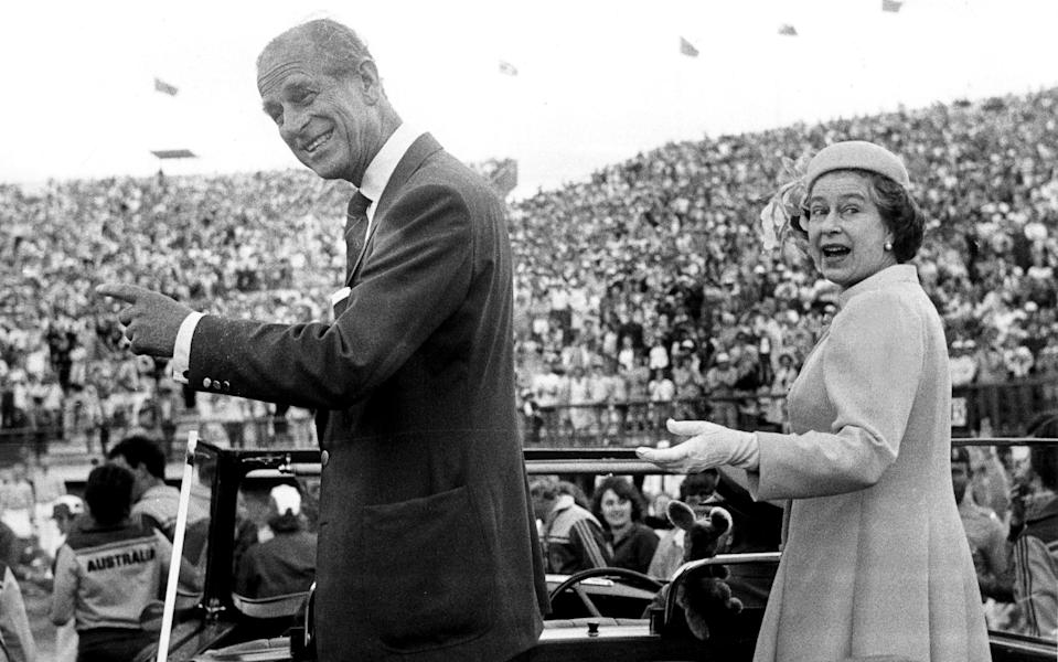 The Queen Elizabeth II and Prince Philip Duke of Edinburgh at the closing ceremony of the 1982 Commonwealth Games in Brisbane - Fairfax Media