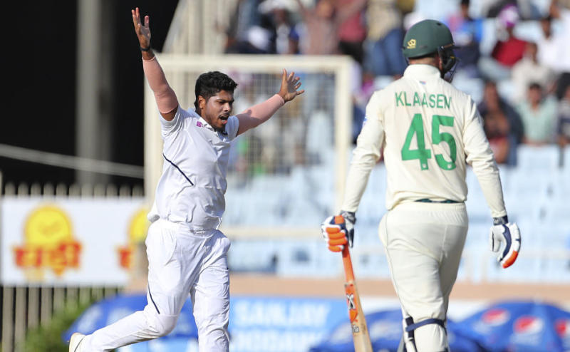 Umesh Yadav is in an ecstatic mood after dismissing Heinrich Klaasen. AP