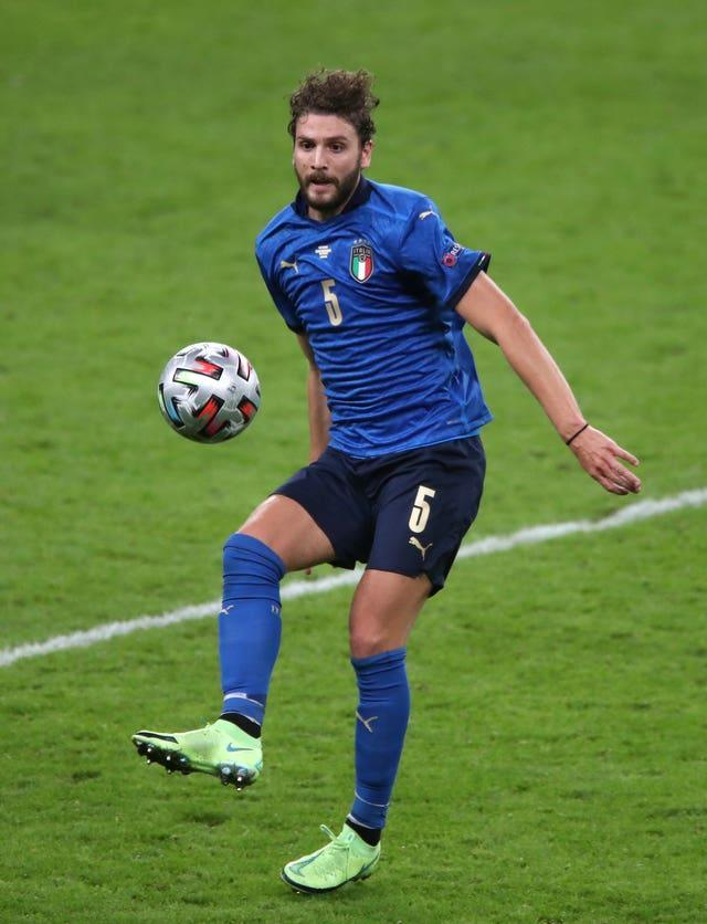 Italy's Manuel Locatelli with a football