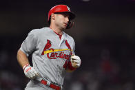 St. Louis Cardinals first baseman Paul Goldschmidt (46) runs the bases after his solo homerun against the Atlanta Braves in the eighth inning during Game 1 of a best-of-five National League Division Series, Thursday, Oct. 3, 2019, in Atlanta. (AP Photo/John Amis)