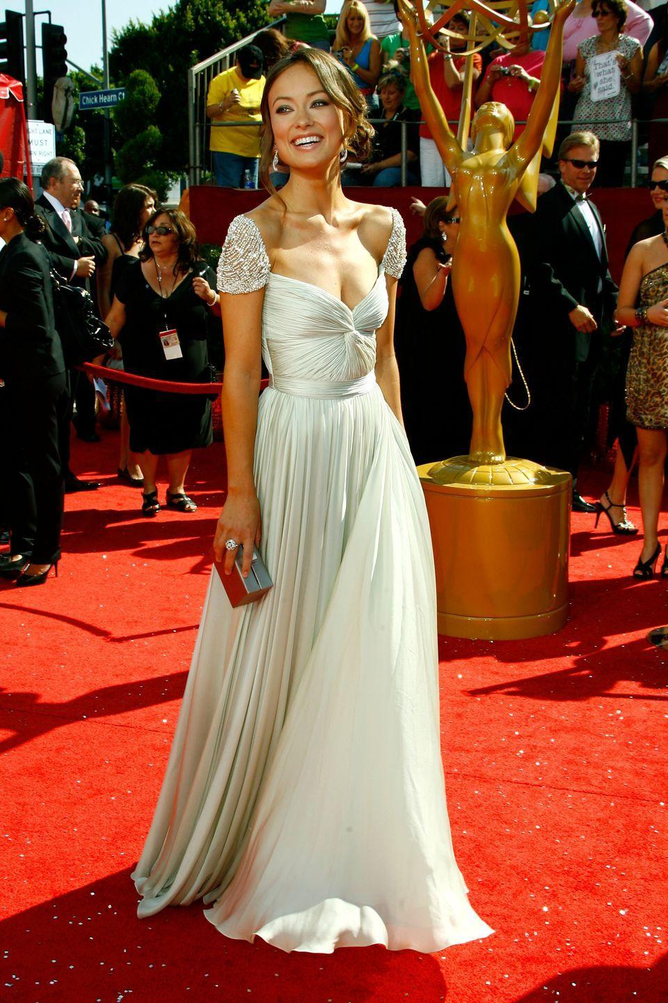 <p>The Reem Acra dress that spawned a million copies. Wilde's embellished shoulders and ample décolletage stole the show. </p>