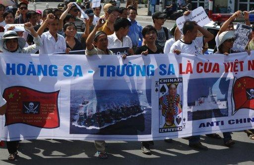 Vietnamese protest against China's territorial assertions in the South China Sea