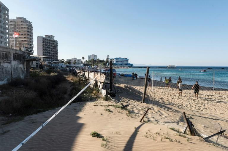 The seaside in the fenced-off area of Varosha. Cyprus has been divided since 1974, when Turkey occupied its northern third in response to a coup orchestrated by an Athens-backed junta seeking to annex the island to Greece