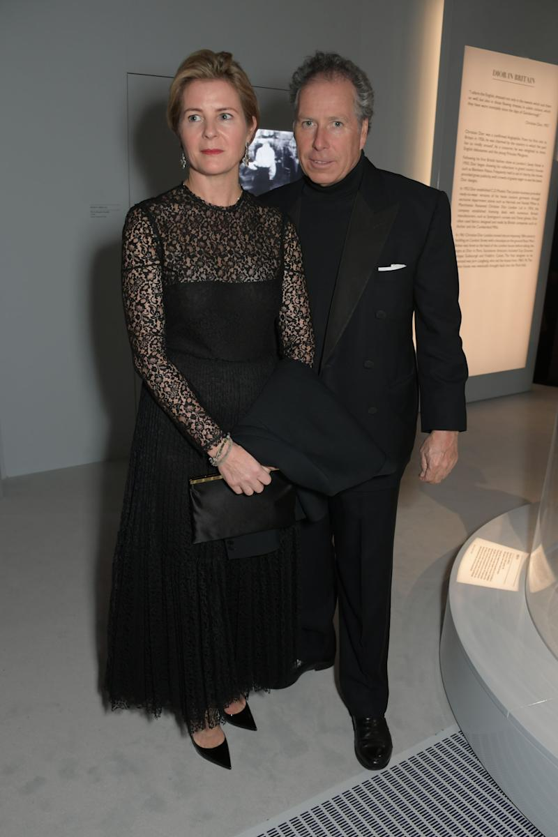 """LONDON, ENGLAND - JANUARY 29: Serena Armstrong-Jones, Countess of Snowdon, and David Armstrong-Jones, 2nd Earl of Snowdon, attend a gala dinner celebrating the opening of the """"Christian Dior: Designer of Dreams"""" exhibition at The V&A on January 29, 2019 in London, England. (Photo by David M. Benett/Dave Benett/Getty Images for V&A)"""