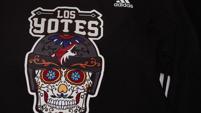 The 'Los Yotes' jerseys the Arizona Coyotes will wear for warm up for their 'Noche de los Yotes' night.