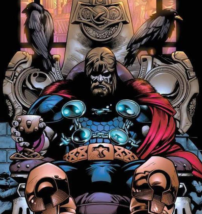 King Thor, blind in his left eye, sits on the throne. (Image: Marvel Comics)