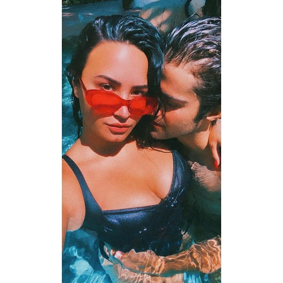 Demi Lovato and Max Ehrich in a selfie shared on Instagram in May 2020.
