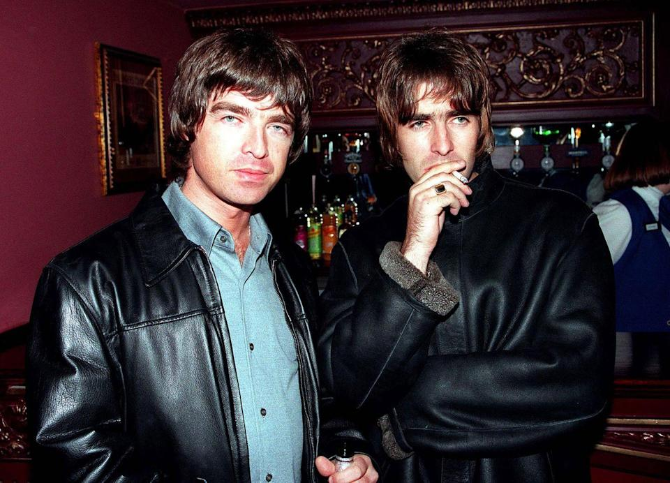 <p>Liam and Noel at the opening night of Steve Coogan's comedy show in the West End, London in 1995.</p>
