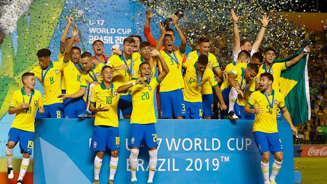 A 93rd-minute goal secured more Under-17 glory for the Selecao on Sunday
