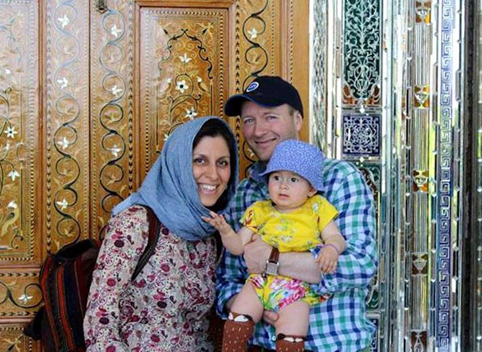 Ms Zaghari-Ratcliffe with her husband Richard Ratcliffe and daughter GabriellaEPA