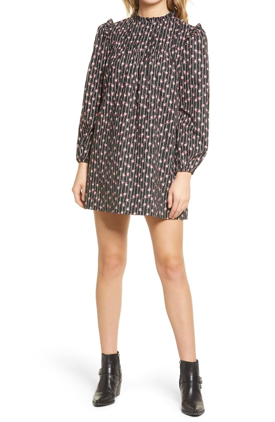 <p>Show off these legs in the flattering <span>WAYF Wales Floral Stripe Long Sleeve Shift Dress</span> ($88).</p>