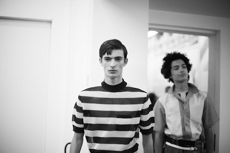 Backstage before the presentation of Prada's Spring/Summer 2017 collection, presented in Milan.