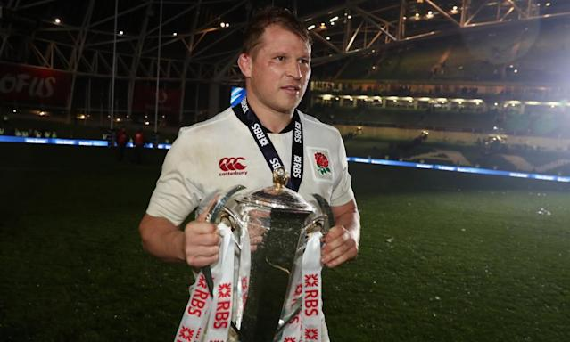 """<span class=""""element-image__caption"""">England captain Dylan Hartley's expression told its own story as England left Dublin with the Six Nations title, but without the grand slam or outright record for consecutive victories.</span> <span class=""""element-image__credit"""">Photograph: David Rogers/RFU Collection via Getty Images</span>"""
