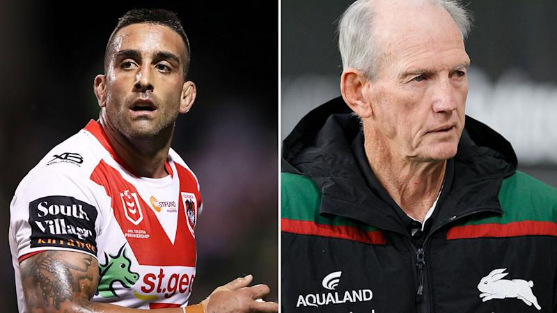 Pictured here, Paul Vaughan and Wayne Bennett both breached the NRL's biosecurity rules.