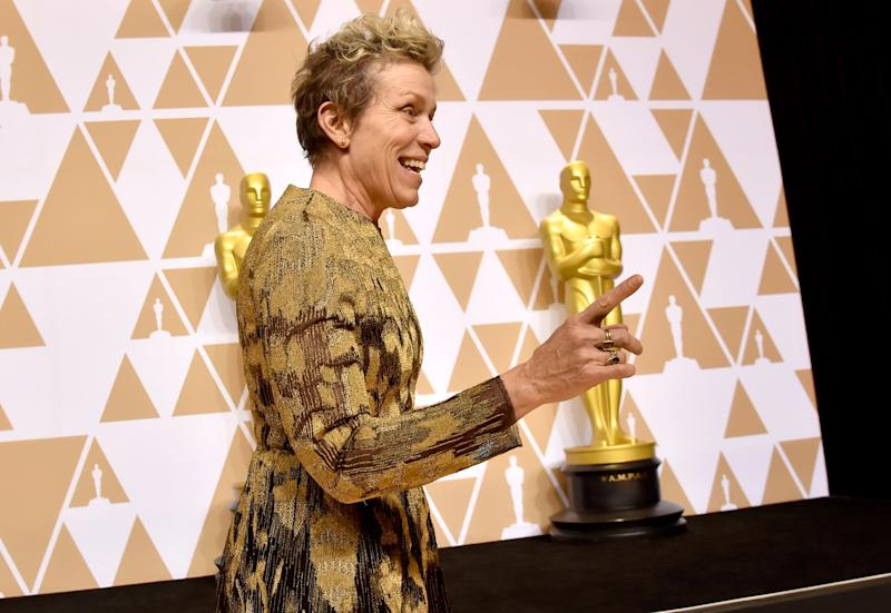 "Frances McDormand, winner of the Best Actress award for ""Three Billboards Outside Ebbing, Missouri,"" poses in the press room during the 90th Annual Academy Awards on March 4, 2018."