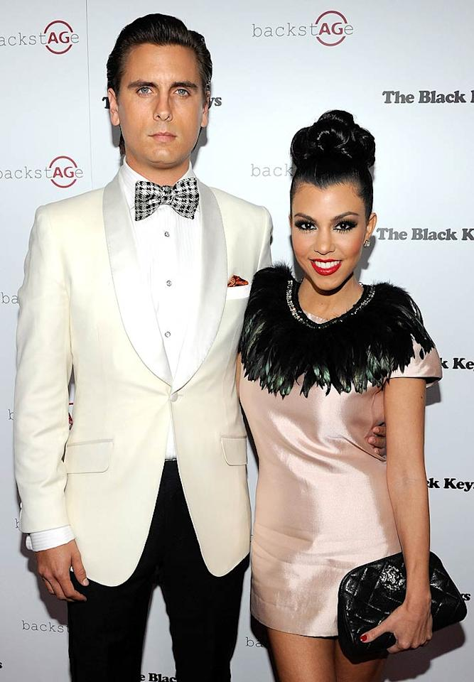 """On-again reality couple Scott Disick and Kourtney Kardashian were feeling the love in Las Vegas Monday night as they celebrated Valentine's Day at the AG Adriano Goldschmied launch of backstAGe at Marquee Nightclub in the Cosmopolitan. When asked by reporters what she'd like for her V-Day gift, Kourt replied, """"For me, diamonds will do the trick."""" Ethan Miller/<a href=""""http://www.gettyimages.com/"""" target=""""new"""">GettyImages.com</a> - February 14, 2011"""