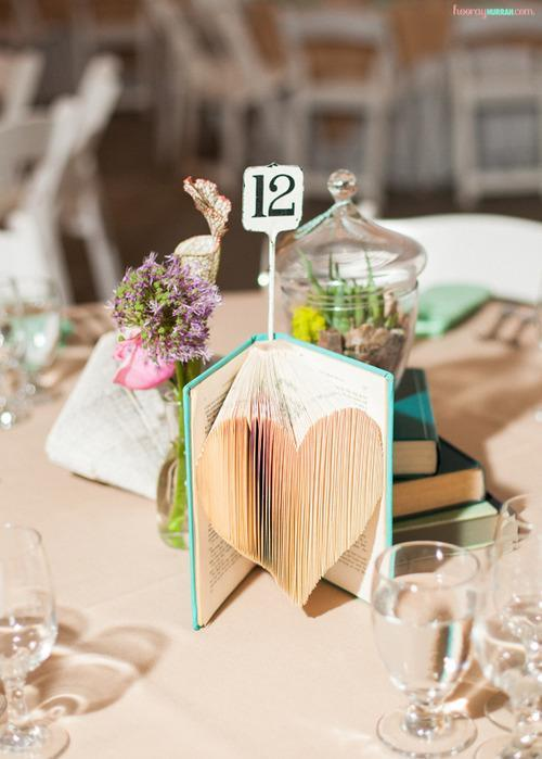 centerpiece made of of a book with pages folded in to a heart shape