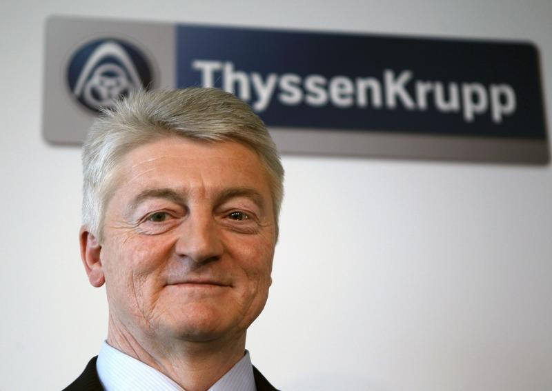 CEO of Germany's industrial conglomerate ThyssenKrupp AG Hiesinger poses during the annual news conference at their headquarters in Essen