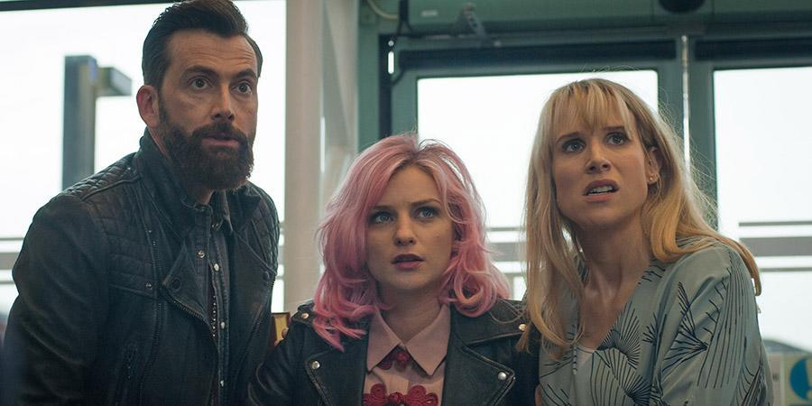 David Tennant, Faye Marsay, and Lucy Punch in 'You, Me, and Him'.