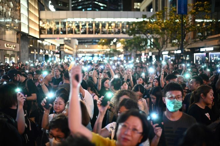 Thousands attended a protest organised by Hong Kong civil servants (AFP Photo/Anthony WALLACE)