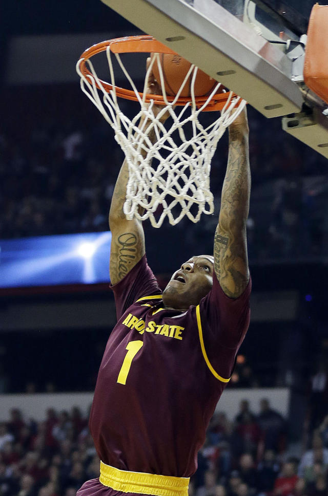 Arizona State's Jahii Carson dunks during the first half of an NCAA college basketball game against UNLV on Tuesday, Nov. 19, 2013, in Las Vegas. (AP Photo/Isaac Brekken)