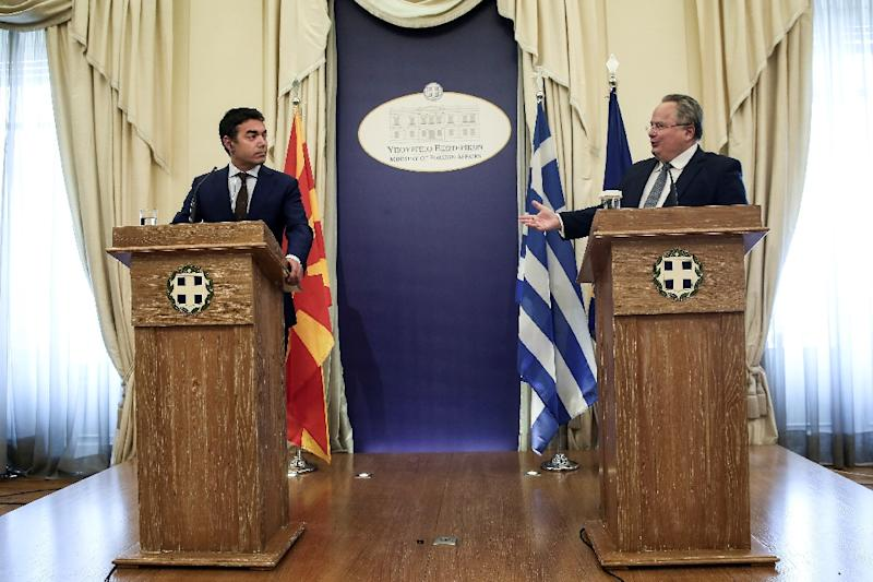 "There has been some degree of ""mobilisation"" on relations -- Macedonian Foreign Minister Nikola Dimitrov was in Athens in mid-June and Greek counterpart Nikos Kotzias is going to Skopje later this month (AFP Photo/Angelos Tzortzinis)"