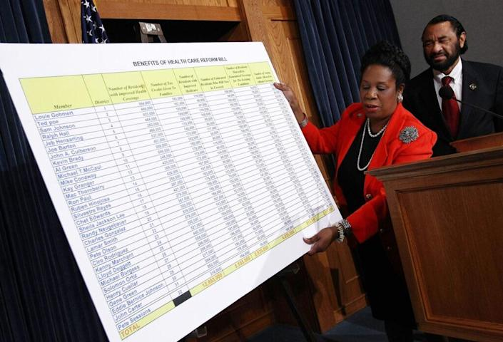 Rep. Sheila Jackson-Lee (D-TX) (L) speaks during a press conference with Rep. Al Green (D-TX) (R) at the U.S. Capitol March 25, 2010 in Washington, DC. (Photo by Win McNamee/Getty Images)