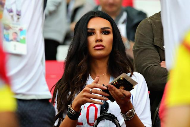 <p>Girlfriend of Dele Alli of England, Ruby Mae looks on before the 2018 FIFA World Cup Russia Round of 16 match between Colombia and England at Spartak Stadium on July 3, 2018 in Moscow, Russia. (Photo by Chris Brunskill/Fantasista/Getty Images) </p>