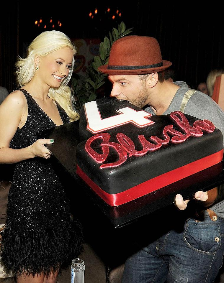 "Las Vegas staple Holly Madison (who stars in the appropriately named ""PeepShow"" at Planet Hollywood Resort and Casino) celebrated the 4th anniversary of Blush Boutique Nightclub at Wynn Las Vegas with hungry ""American Idol"" alum Josh Strickland on Sunday night. Denise Truscello/<a href=""http://www.wireimage.com"" target=""new"">WireImage.com</a> - September 4, 2011"