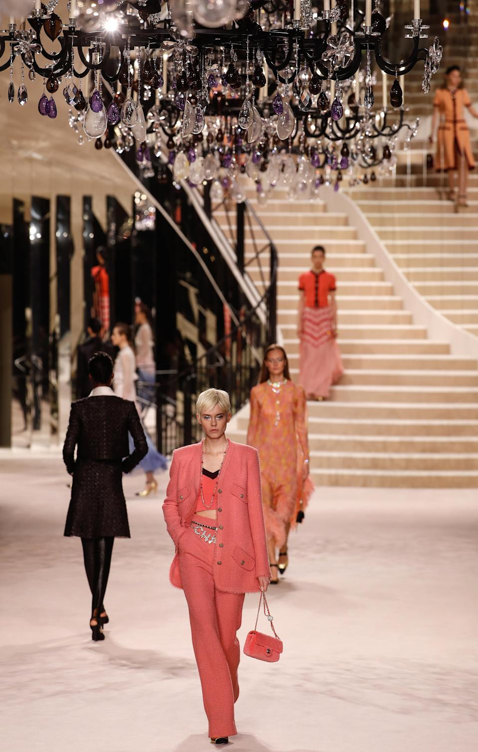 The legendary Chanel maison at 31 rue Cambon had been transposed in the centre of the Grand Palais by the filmmaker Sofia Coppola for the Chanel Métiers d'art presentation in 2019.