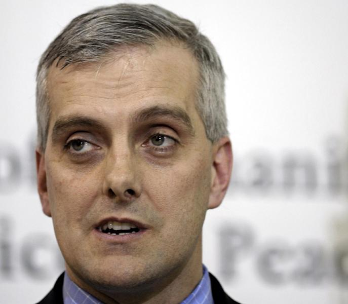 FILE - In this March 6, 2011 file photo, Denis McDonough speaks in Sterling, Va. President Barack Obama's budget proposal will include an additional $2.5 billion to attack a growing backlog of veterans disability claims, a problem officials said is likely to worsen in coming months. White House chief of staff Denis McDonough told reporters Friday that more money for the VA in tight budgetary times reflects Obama's commitment to veterans. (AP Photo/Cliff Owen, File)
