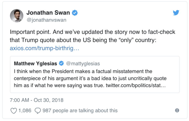 Jonathan Swan responds to a since-deleted tweet from journalist Matthew Yglesias. (Twitter)