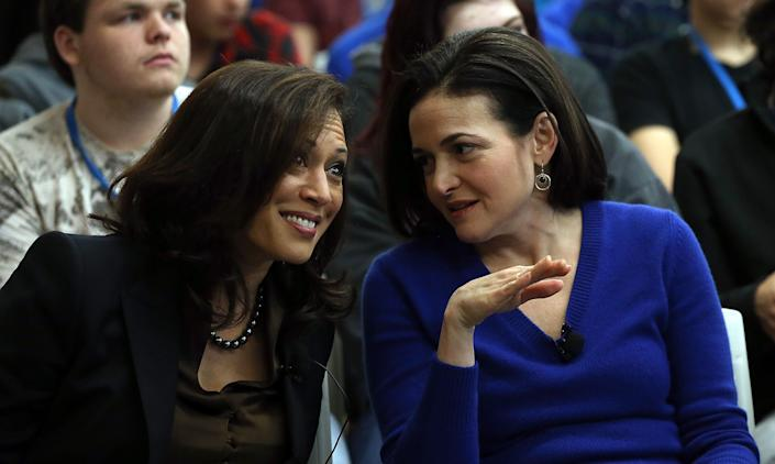 Sen. Kamala Harris and Facebook COO Sheryl Sandberg talk at Facebook headquarters on Feb. 10, 2015, in Menlo Park, California. Harris delivered the keynote speech at the event. (Photo: Justin Sullivan via Getty Images)