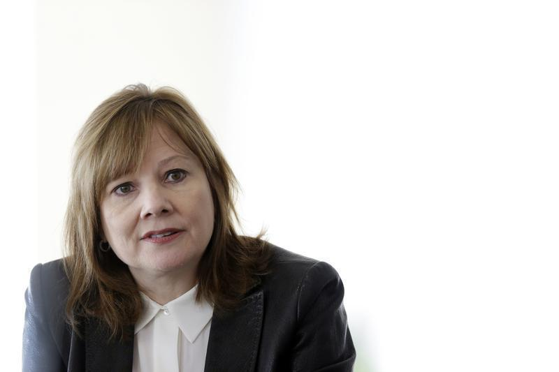 General Motors Co's new chief executive Mary Barra addresses the media during a roundtable meeting with journalists in Detroit