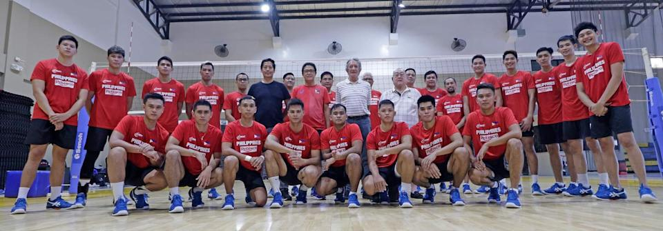 The Philippine National Volleyball Federation (PNVF) unveils the men's team that will compete in the AVC meet. (Photo: PNVF)