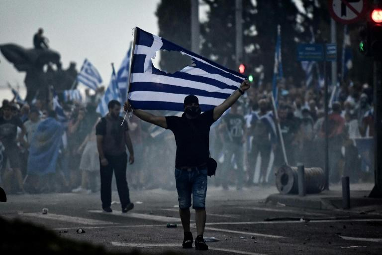 Protesters clashed with police on Friday during a demonstration against the agreement reached by Greece and Macedonia to resolve a dispute over the former Yugoslav republic's name