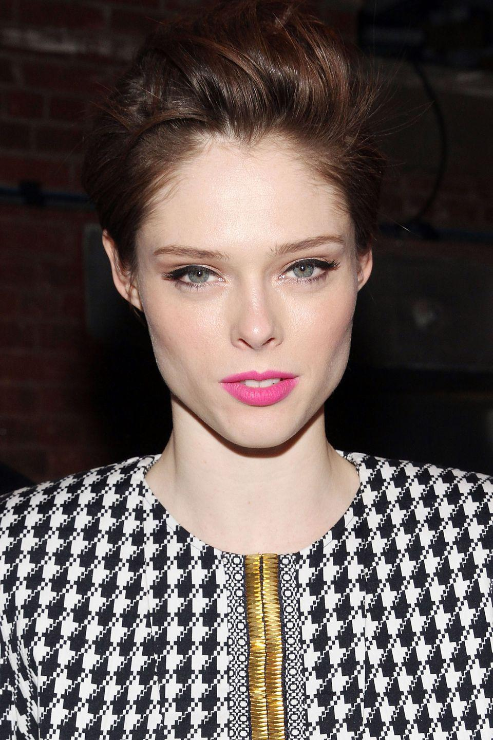 <p>Model Coco Rocha gives her pixie plenty of volume with combed back waves. </p>