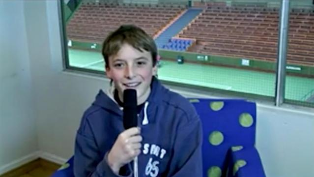 Young Stefanos Tsitsipas, 13, now professional Greek tennis player, speaks about his idol Roger Federer and his plans to become a top tennis player in the future in this 2012 interview at Royal Tennis Hall, Stockholm, Sweden, in this still image taken from a video obtained by Reuters January 23, 2019. KUNGENS KANNA & DROTTNINGENS PRIS/via REUTERS THIS IMAGE HAS BEEN SUPPLIED BY A THIRD PARTY. MANDATORY CREDIT.