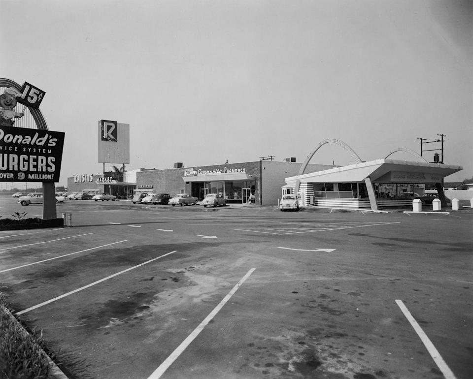 <p>Brothers Richard and Maurice McDonald opened the first McDonald's in 1940 in San Bernardino, California. Back then, it was a sit-down restaurant, but it was rebranded as a speedy drive-in hamburger stand post-World War II. </p>