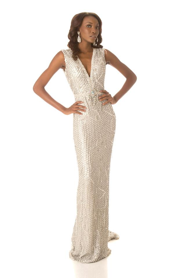 Miss Haiti 2012, Christela Jacques, poses in her evening gown at Planet Hollywood Resort and Casino, in Las Vegas, Nevada. She will spend the next few weeks touring, filming, rehearsing, and making new friends while she prepares to compete for the coveted Miss Universe Diamond Nexus Labs Crown.