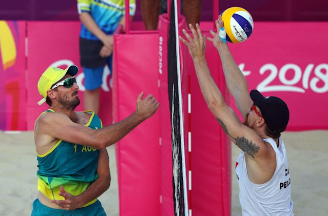 Beach Volleyball - Gold Coast 2018 Commonwealth Games - Men's Gold Medal Match - Australia v Canada - Coolangatta Beachfront - Gold Coast, Australia - April 12, 2018. Christopher McHugh of Australia in action with Samuel Pedlow of Canada. REUTERS/Athit Perawongmetha