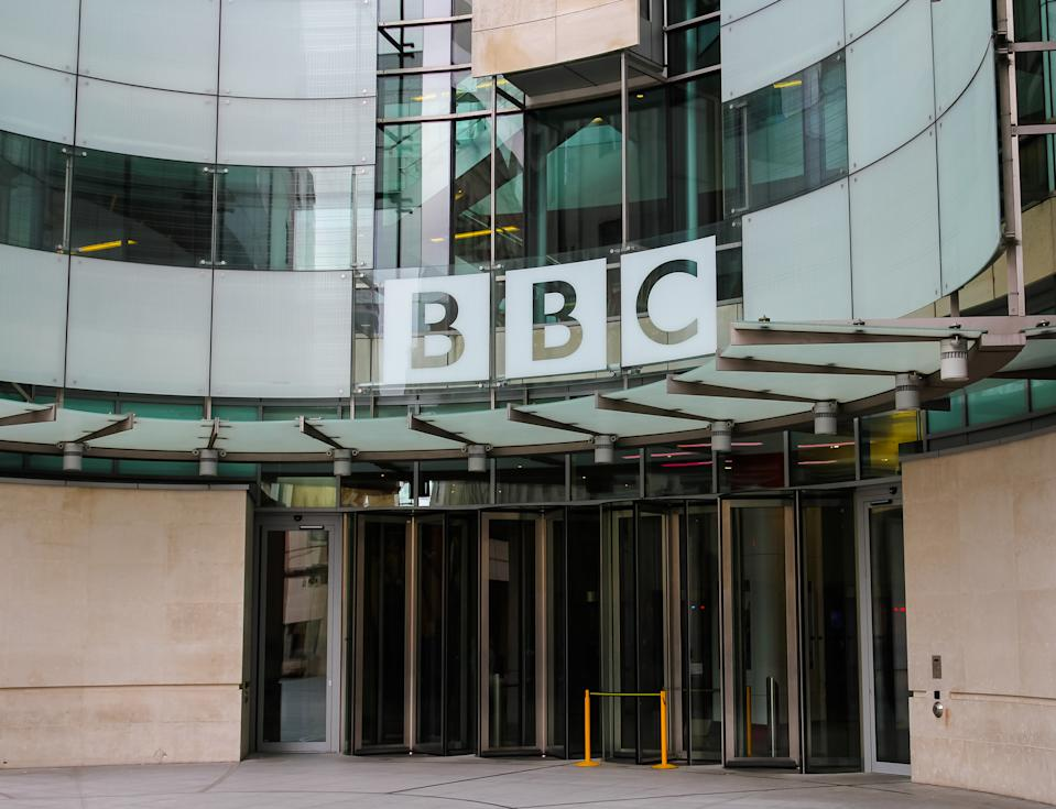 London, UK - 5th April 2014: The outside of a BBC building in central London. The British Broadcasting Corporation also know as the BBC is a public service broadcasting in England