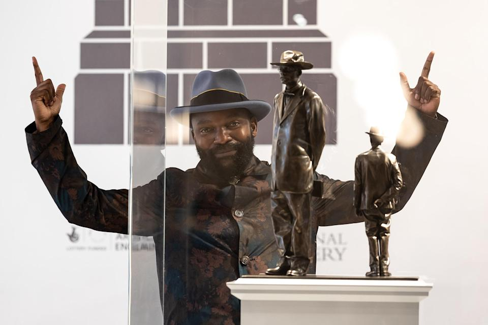 Samson Kambalu with his design for the Fourth Plinth (Tim P. Whitby/Getty Images)